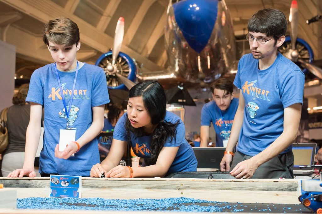 Kinvert students prepare for a busy day at Maker Faire Detroit making robots right in front of spectators