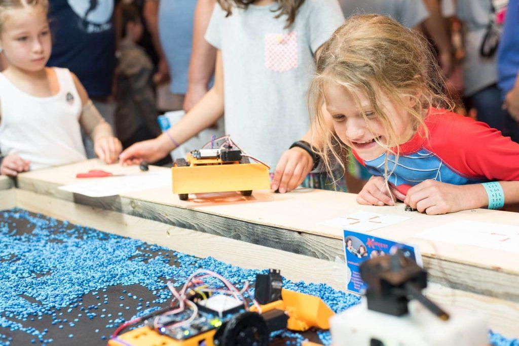 Students in the Kinvert Mentor program made construction robots for Maker Faire Detroit