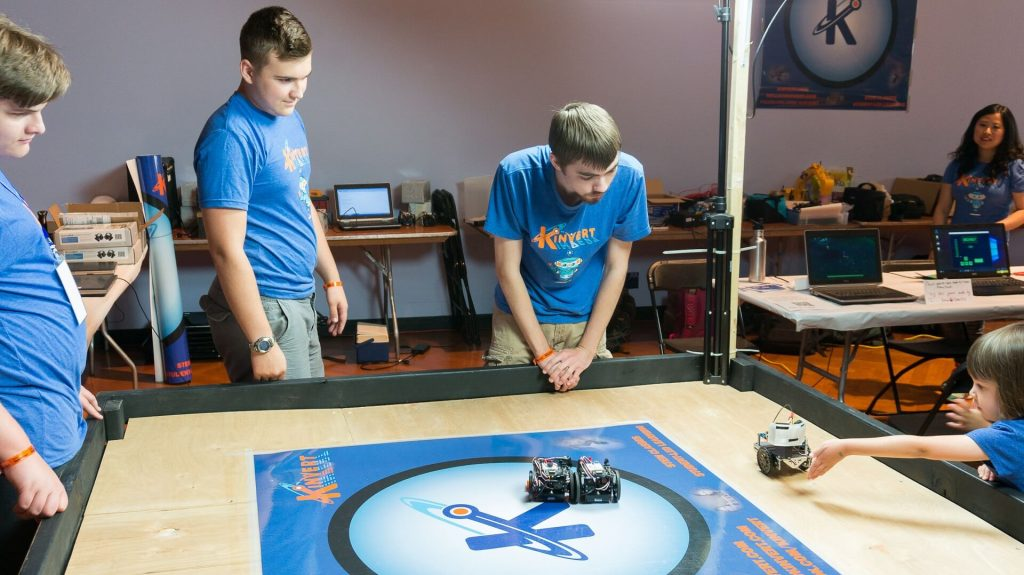 For Maker Faire Detroit a Kinvert Mentor student made an interactive robot to help get kids interested in STEM