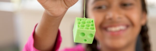 Girl printed slime in 3D Printing for Kids and Teens Classes Summer Camp
