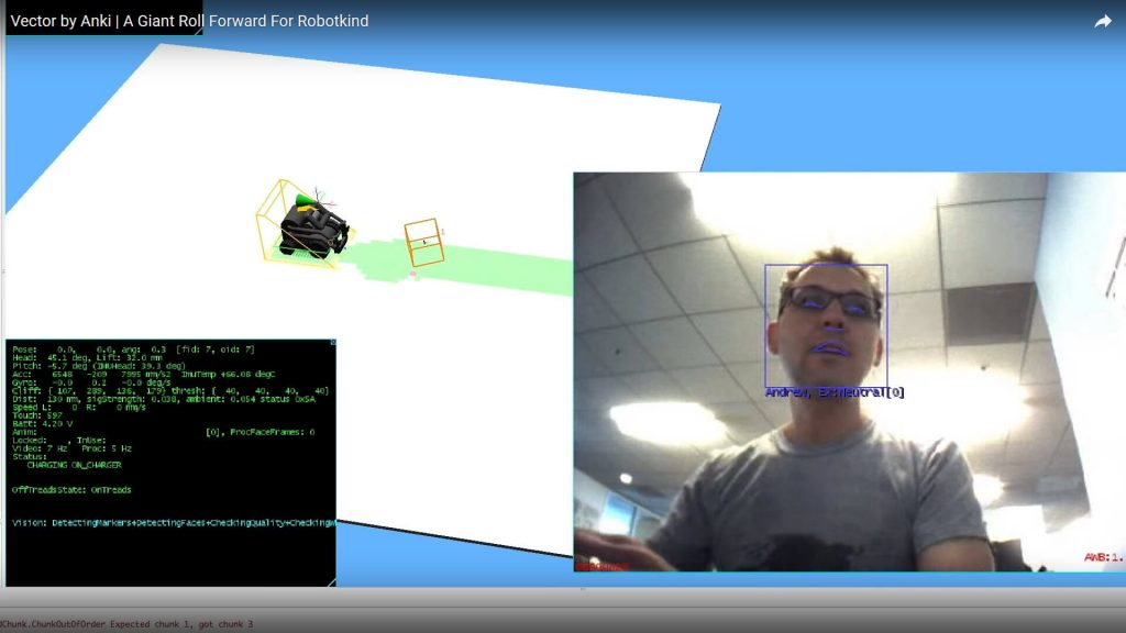 Anki Vector SDK in Python showing 3D world using OpenGL and facial recognition