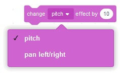These are the different effects you can change in the new MIT Scratch 3.0 sound blocks