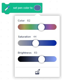 In the new version of MIT Scratch 3.0 you can set Hue Saturation and Brightness in pen blocks