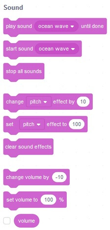 These are the sound blocks in Scratch 3.0 made by MIT there is a new sound block