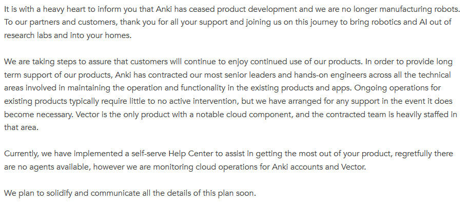Anki closed and made an official statement anki is the maker of the anki cozmo robot